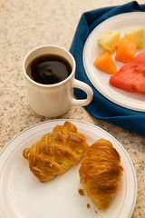 "Continental Breakfast, #1 (IronRodArt - Royce Bair (""Star Shooter"")) Tags: morning travel light food hot coffee closeup fruit breakfast restaurant cozy healthy close dish drink sweet beverage continental tasty plate fresh crescent watermelon bakery snack meal pastry mug croissant roll service elegant accommodation simple mellon cantaloupe serve nutritious appetizing relaxingresortroom"