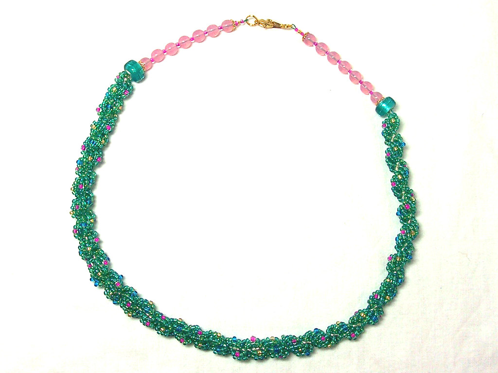 Green & multi double spiral rope necklace
