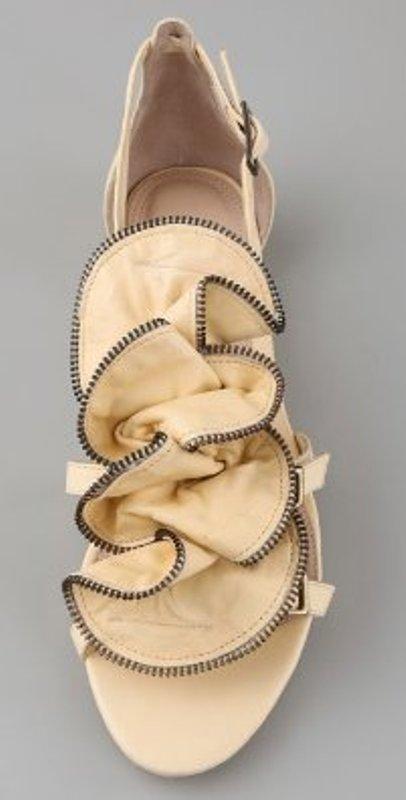 Pour la Victoire Ella zip ruffle flat sandal