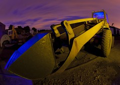 IMG_0010 raw edit .jpg (night photographer) Tags: old light motion blur yellow night clouds canon painting photography long exposure jcb mark railway fisheye ii 5d digger musem