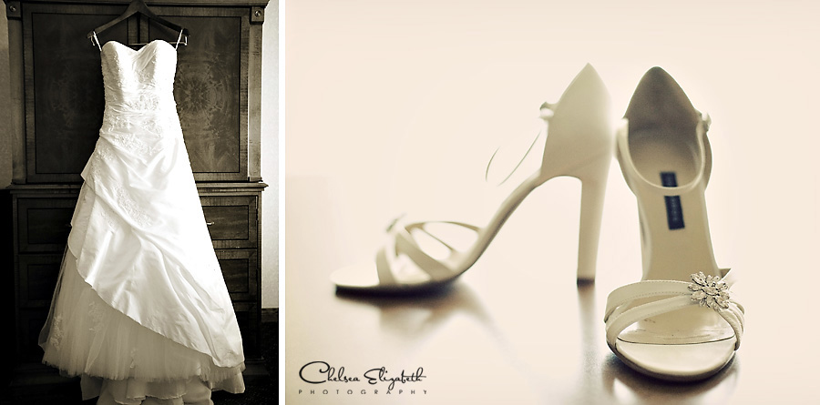 Marriott Santa Ynez hotel vintage wedding dress and white high heels