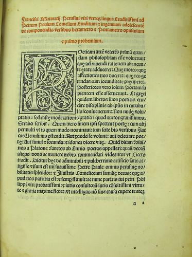 Incipit and woodcut initial in Mataratius, Franciscus: De componendis versibus hexametro et pentametro