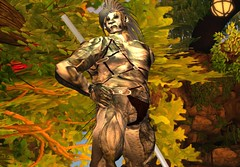 Micha Neandermann de Tiki (Mikil Tiki Fnfa) Tags: tattoo nude muscular bare avatar dream handsome sl micha secondlife hero mohawk warrior katana creature powerful neanderthaler alphatribe neandermann