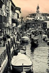 Venezia - Venice: a canal with gondolas (Stefano Pertusati) Tags: venice italy white black canal grande calle nikon italia calla canals e 200 gondola laguna split 18 55 venezia bianco nero canale gondole toning veneto d40