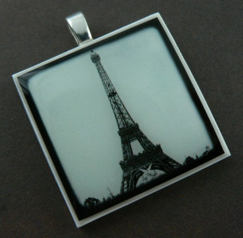 Black and White Eiffel Tower Polymer Clay Photo Pendant