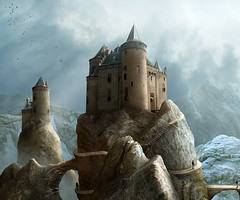 the stronghold (Mattijn) Tags: mountains castle rock cat landscape fantasy hoody photomontage stronghold photoart muiderslot