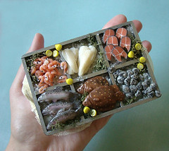 Fish Stall - Final Version #1 (PetitPlat - Stephanie Kilgast) Tags: miniatures handmade salmon polymerclay fimo clay oysters minifood fishes 112 dollhouse poissons plaice dollshouse huitres saumon lachs miniaturefood carrelet puppenhaus miniaturen oneinchscale dollhousefood dollhouseminiature petitplat minifish miniaturefish