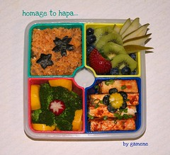 homage to hapa bento (gamene) Tags: strawberry tofu broccoli squash bento kiwi friedrice
