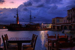 Pirate ship (Theophilos) Tags: reflection clouds dawn greece aurora crete pirateship rethymno oldharbour