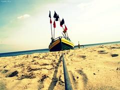 .... (anka.anka28) Tags: blue sea sky beach water sand poland polska explore niebieski woda d gdynia orowo morze niebo plaa pomorze piasek explored kuter homersiliad