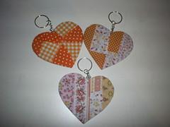 Chaveiro corao laranja (Atelie Amor a Arte) Tags: decoupage tecido chaveiro
