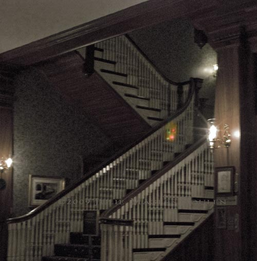Main staircase of historic Stanley Hotel of Estes Park, CO