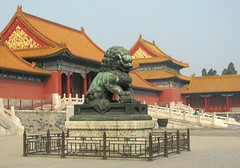 Guarding the Palace, Forbidden City (Kurlylox1) Tags: china red orange beijing roofs forbiddencity imperialpalace railings foolion guardianlion fulion beijing2009 upturnedcorners