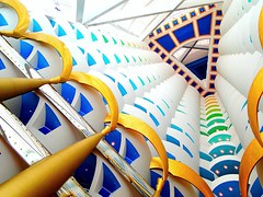 Burj Al Arab l 7 Stars Hotel's Roof (dubraskaG) Tags: world white colors de gold hotel al arquitectura dubai uae amarillo most arab burjalarab arabe colored arquitecture burj oro luxurious columnas simetria 7stars
