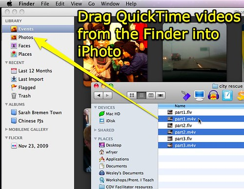 Drag QT videos into iPhoto