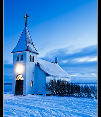 Church In Blue. (Leo Druker) Tags: blue winter snow cold church iceland nikon bluehour oldchurch fjords villagechurch bluesnow icelandicchurch icelandchurch icelandwinter nikond3 nikkor247028 icelandicfjords