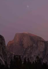 Making an appearance: the moon! (SF knitter) Tags: california park moon cold twilight cloudy windy national yosemite halfdome ahwahneemeadow abigfave vanagram