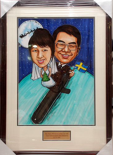 wedding couple caricatures on submarine framed with metal engraving