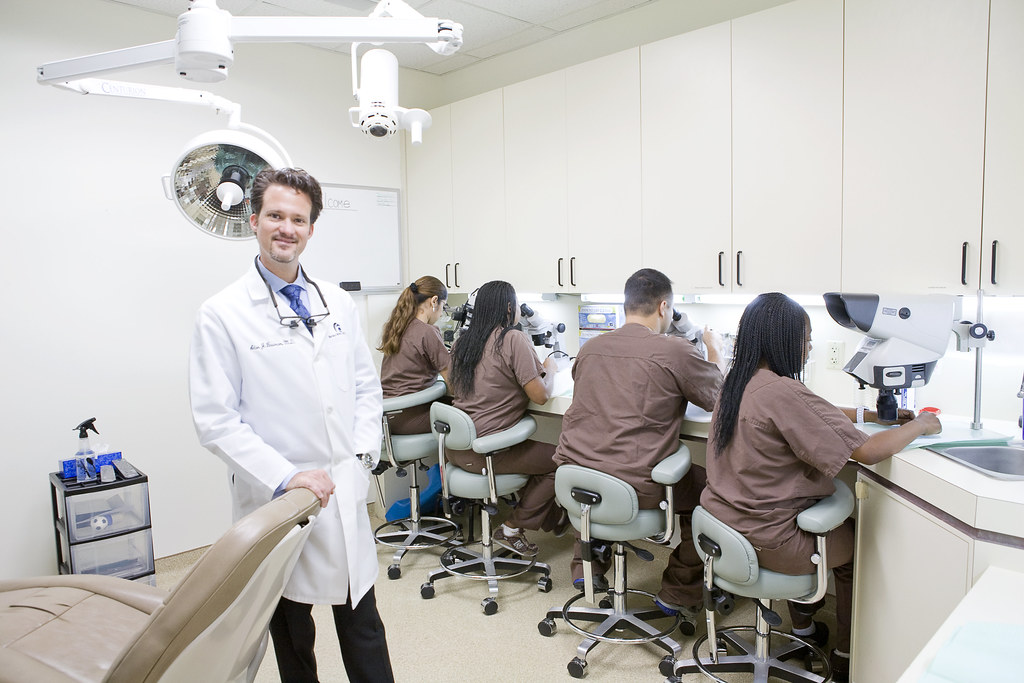 Dr. Bauman and hair transplant team / hair transplant procedure room
