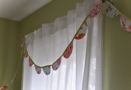 bunting on curtain