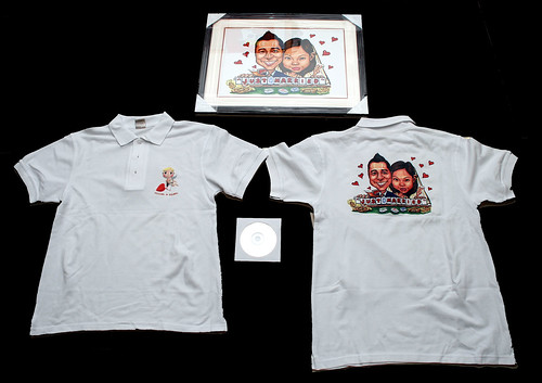 wedding couple caricatures playing mahjong printed on Polo shirts and framed up