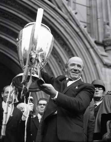 Matt Busby with European Cup, 1968