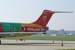 World Cup MD-83 at London Southend Airport. (piktaker) Tags: fifa jet cocacola dat worldcup essex southend sen mcdonnelldouglas md83 jetairliner fifacom specialpaintscheme danishairtransport passengerairliner egmc londonsouthendairport worldcuptrophytour oyrue