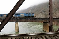 Harpers Ferry NHP ~ crossing the Potomac (karma (Karen)) Tags: harpersferrynhp wvirginia trains tracks bridges fences rivers potomacriver cmwd fencefriday hff