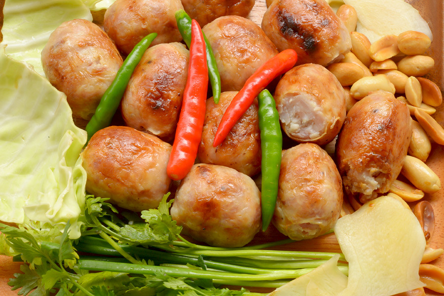 Isan sausages sold widely by street vendors throughout the region