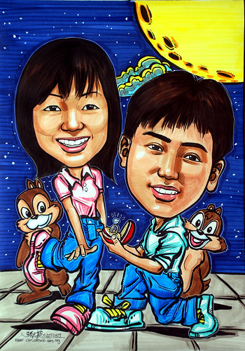 Couple caricatures proposal with Chip & Dale
