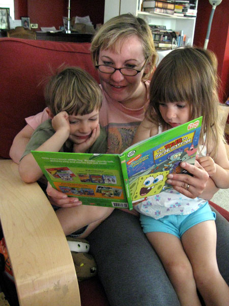 Sister Reading to Niece & Nephew (Click to enlarge)