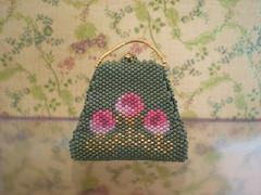 'Roses' antique miniature beaded bag (Beadwork by Sian) Tags: roses bag miniature suzanne cooper peyote beadwork delica beadweaving