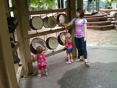 Playing drums at Durham museum of life and science