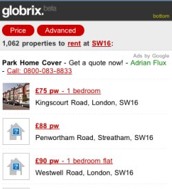 Globrix mobile property search results