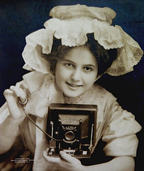 Lace Hat Photog (flickr flame) Tags: camera art photography lace postcard bellows fancyhat