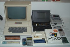Various computers and calculators inc. ZX80 and Apple ][ (Andys Retro Computers) Tags: london apple calculator gameboy sciencemuseum windows311 supernintendo gridcomputing sinclairzx80