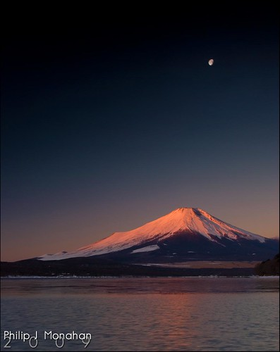 Mt. Fuji under the Moon by Phijomo