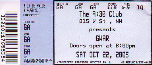 20051022 - Gwar ticket stub
