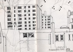 London from the Bonnington Hotel (skyeshell) Tags: blackandwhite london art buildings sketch drawing line tone locationdrawing pleinairdrawing urbansketches sketchbookjournal sketchbookpages drawingonthespot
