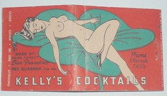KELLY'S COCKTAILS SAN FRANCISCO CALIF. (ussiwojima) Tags: california bar advertising san francisco lounge cocktail matchbook matchcover kellyscocktails