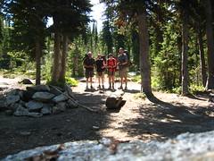 Bob, Caleb, Allison and Cole at Long Mountain Lake Camp, Selkirk Mountains, North Idaho.