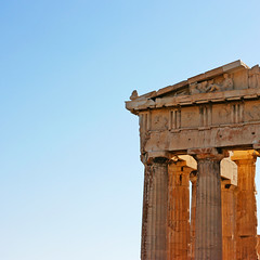 The Parthenon (edwardkb) Tags: blue sunset vacation sky holiday architecture canon square 50mm vacances ruins glow athens parthenon clean greece acropolis 400d
