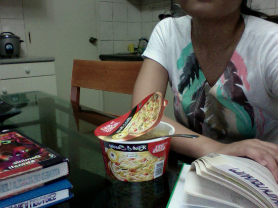 bowl noodles + library books.