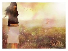 : Secret Garden : (:  :  or  hi ) Tags: field garden dandelion deer sl lena fawn secondlife bloch lenabloch