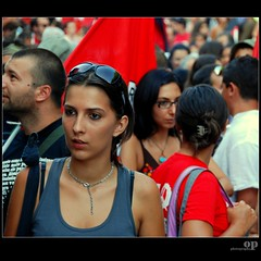 People - Messina No Ponte, August 8 - (Osvaldo_Zoom) Tags: bridge portrait people colors girl beauty nikon rally protest messina sicilian noponte messinastrait d80
