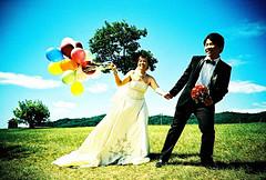 Bliss (C.L.I.W) Tags: blue wedding sky flower grass happy lomo lca xpro crossprocess balloon rick marriage happiness suit sunflower bliss vignetting flim e2c kodakelitechrome kodakeb100     twiggy