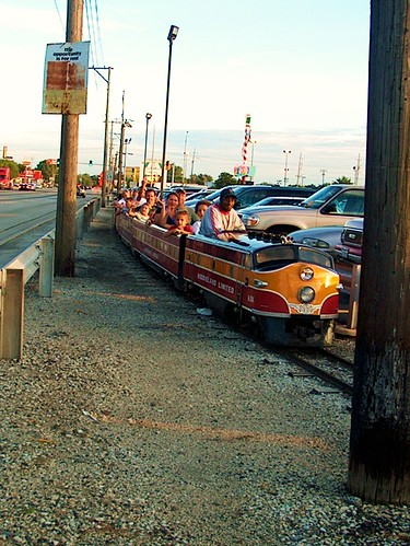 The Kiddieland Limited miniature train alongside First Avenue. Kiddieland Amusement Park. Melrose Park Illinois. August 2006.