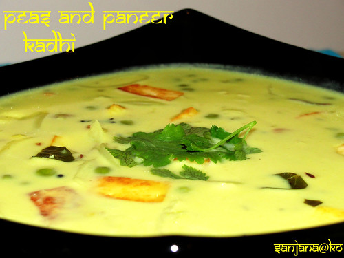 Peas and Paneer Kadhi (Indian Yogurt Soup)