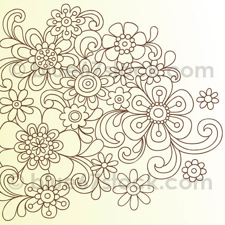 Hand-Drawn Psychedelic Paisley Henna Tattoo Doodle with Flowers and Swirls