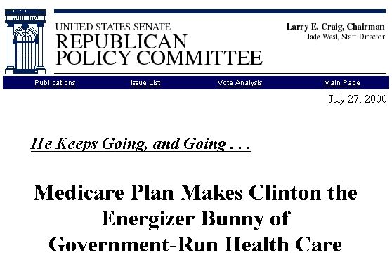 Republican Policy Committee Infringes Energizer Bunny Attacking Healthcare Ten Years Ago